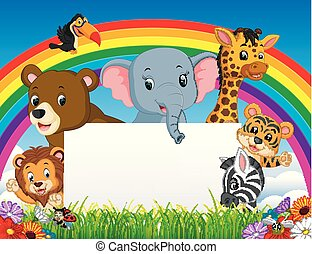 cartoon animal with blanksign and rainbow