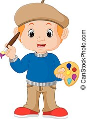 Cartoon artist boy - illustration of  Cartoon artist boy