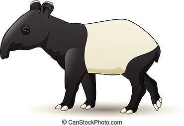 Cartoon Asian tapir isolated on white background