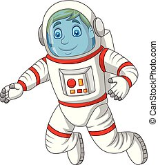 Cartoon astronaut isolated on white background