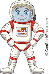 Cartoon astronaut standing isolated on white background