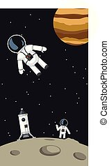 astronauts with spaceship on moon