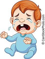 Cartoon baby boy crying