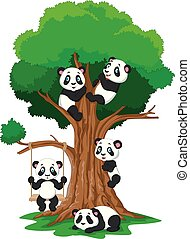 Cartoon baby panda playing on a tree