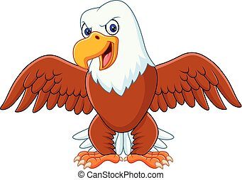 Cartoon bald eagle with wings extended - illustration of...