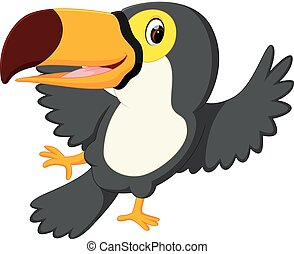 Cartoon bird toucan dancing