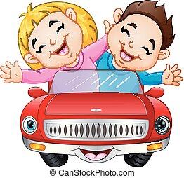 Cartoon boy and girl riding a car