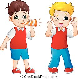 Cartoon boy blowing at the little boy in a trumpet