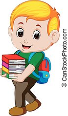 Cartoon boy holding a pile of books with backpack