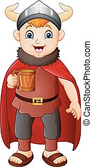 Cartoon boy in viking costume holding a beer mug