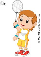 Cartoon boy playing badminton