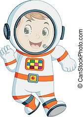Cartoon boy wearing astronaut costume