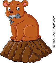 Cartoon brown bear eating fish