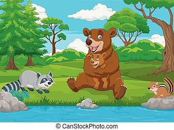 Cartoon brown bear family in the forest