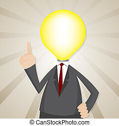 cartoon bulb head businessman