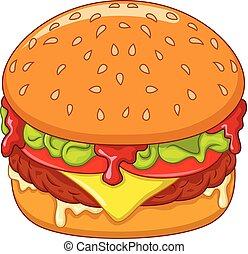 Cartoon burger isolated on white background
