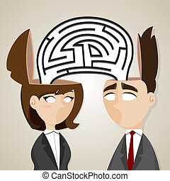 illustration of cartoon businessman and businesswoman with labyrinth from they head in business problem concept