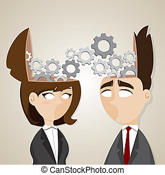 cartoon businessman and businesswoman working together