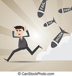 cartoon businessman avoid social turmoil - illustration of...