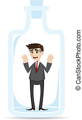 cartoon businessman captured in bottle