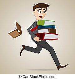 cartoon businessman carry stack of folder and dropped book
