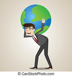 cartoon businessman carrying globe on shoulder - ...
