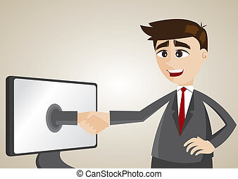 cartoon businessman check hand from computer
