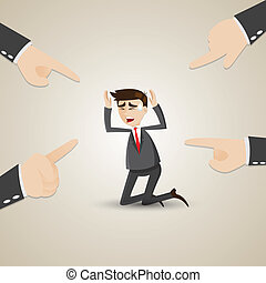 cartoon businessman chosen by teammate - illustration of ...