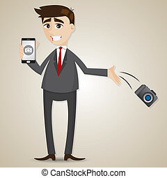 cartoon businessman drop camera and showing camera in smartphone