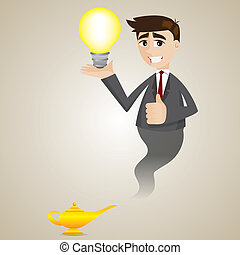 cartoon businessman from magic lamp showing idea bulb