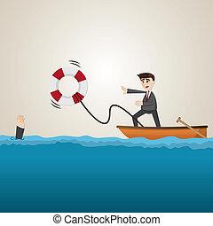 cartoon businessman helping teammate with lifebuoy -...