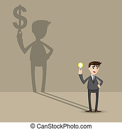 cartoon businessman holding idea bulb - illustration of ...