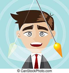cartoon businessman hypnotized