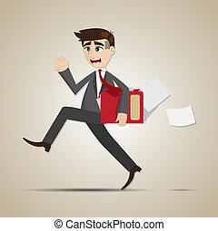 cartoon businessman in rush hours - illustration of cartoon...