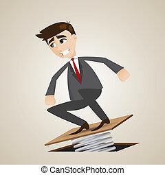 cartoon businessman jumping on springboard - illustration of...