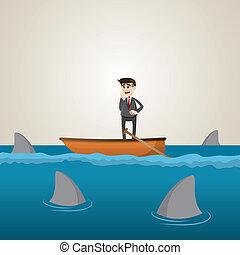 cartoon businessman on boat with shark in sea