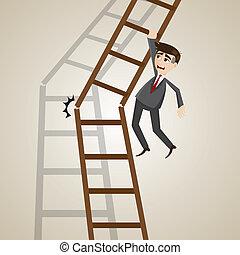 cartoon businessman on broken ladder
