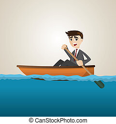 cartoon businessman paddling on sea