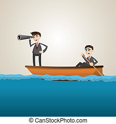 cartoon businessman paddling on sea with teammate scouting -...