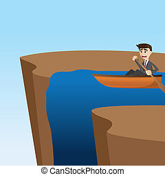 cartoon businessman paddling on waterfall