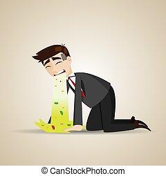 cartoon businessman puke on floor