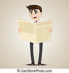 cartoon businessman reading newspaper
