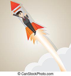 illustration of cartoon businessman rising with rocket in progress concept