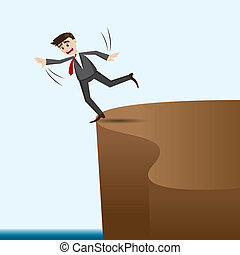 cartoon businessman risky on cliff - illustration of cartoon...
