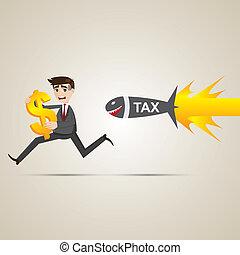 cartoon businessman run away from tax