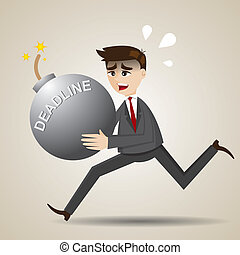 cartoon businessman running with deadline grenade bomb -...