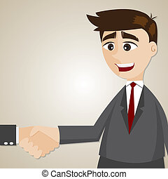 cartoon businessman shake hand with another man -...