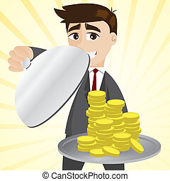 cartoon businessman showing gold coin in tray