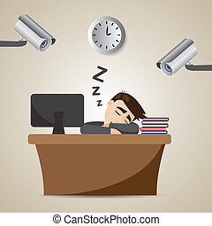 cartoon businessman sleeping at working time with CCTV -...