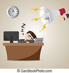 cartoon businessman sleeping at working time with megaphone...
